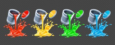 Color paints pouring from tins. Vector illustration. stock illustration