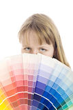 Color palette. Young woman holding color guide Stock Image