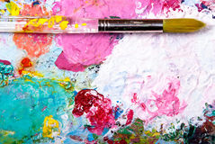 Color palette with brush. Colorful color mixing palette with brush and text space below Stock Images