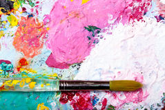 Color palette with brush. Colorful color mixing palette with brush and text at top Stock Photography