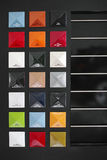 Color palette cars. A row of colored metal plates showing the color options of cars royalty free stock photography