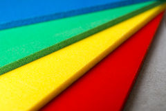 Color palette close up. Samples of foamed polyvinyl panel called forex which is used in the graphic manufactory Stock Image