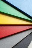 Color palette close up. Samples of foamed polyvinyl panel called forex which is used in the graphic manufactory Stock Images