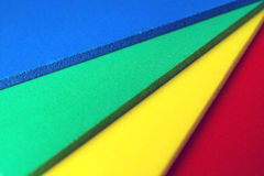 Color palette close up. Samples of foamed polyvinyl panel called forex which is used in the graphic manufactory Royalty Free Stock Image