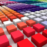 Color palette. 3D rendering of multiple blocks in a variety of color shades Stock Photo