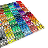 Color palette. 3D rendering of multiple blocks in a variety of color shades Stock Photos