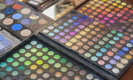 Color palette of eye shadow makeup Stock Photos