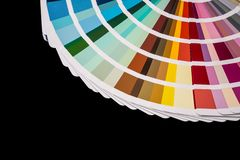 Color palette guide isolated. On black stock photos