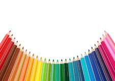 Color palette made of colorful pencils. Copy space above stock image