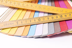 Color Palette and metric folding ruler Stock Photos