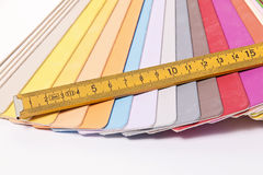 Color Palette and metric folding ruler Stock Photo