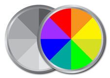 Color palette. One palette with colors and one in gray scale. Color concept Royalty Free Stock Photo