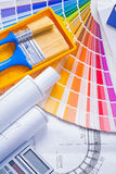 Color palette paintbrushes paint can blueprints Royalty Free Stock Image