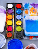 Color Palette with Painting Arts Craft brush on Table Top view Stock Images