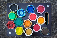 Color Palette Painting Watercolor Colorful Tray Board Ground Royalty Free Stock Photography