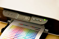 Color palette on paper and printer Royalty Free Stock Images