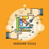Color palette, pen, pencil, ruler, eraser and two human hands. Graphic, web and digital design, techniques and tools for. Designers concept. Vector illustration vector illustration