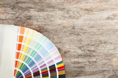 Color palette samples on background. Color palette samples on wooden background royalty free stock photos