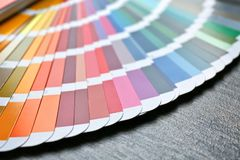 Color palette samples on background. Color palette samples on wooden background stock images