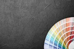 Color palette samples on grey background royalty free stock photo