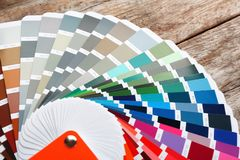 Color palette samples on table. Closeup royalty free stock photography