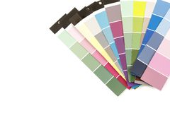 Color palette, samples of various paint catalog for tinting. Color palette, samples of various paint catalog to tint royalty free stock image
