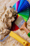 Color palette and tools. Color palette, brush and paintbrush royalty free stock photos