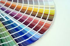 Color palette with various samples. Paint selection catalog, close-up, repair concept stock photos
