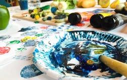 Color palette. Water color palette artist painting Stock Images