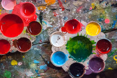 Color Palette. On the wood table stock photography