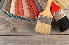 Color palette on the wooden background Stock Photography