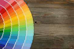 Color palette on the wooden background Stock Images