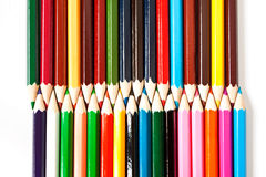 Color palette wooden crayon pencils at white background Royalty Free Stock Images