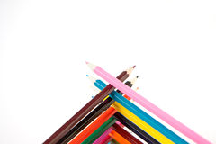 Color palette wooden crayon pencils at white background Stock Photos