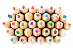 Color palette wooden crayon pencils at white background Royalty Free Stock Image