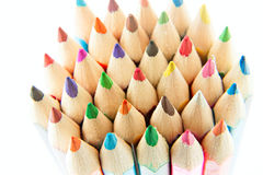 Color palette wooden crayon pencils at white background Royalty Free Stock Photo