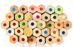 Color palette wooden crayon pencils at white background Stock Photography