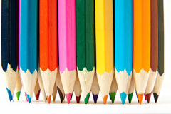 Color palette wooden crayon pencils at white background Stock Photo