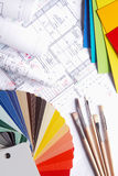 Color Palettes and Brushes on Top of Blueprint Royalty Free Stock Images