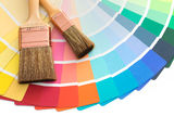 Color pallette guide with brushes royalty free stock photos