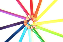 Color pancil rainbow circle Royalty Free Stock Images