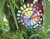 Color paper art decoration. In garden Stock Photo