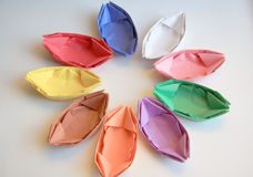 Color paper boats Stock Photo