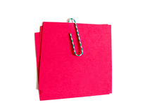 Color paper clip with red paper Stock Image