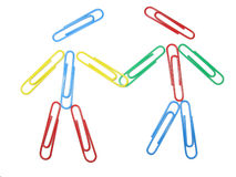 Color paper clips compozition people concept Stock Photos