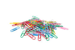 Color paper clips isolated Royalty Free Stock Images