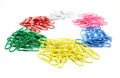 Color Paper Clips To Background. Royalty Free Stock Photos