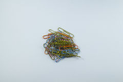 Color paper clips. On white background Royalty Free Stock Photo