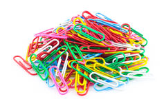 Color paper clips in white background Stock Photo