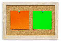 Color paper on cork board  for text and ba Stock Photos